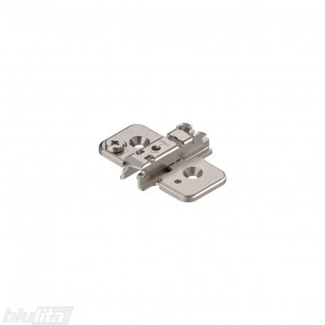 Kryžminė CLIP lanksto plokštelė, 3mm, tvirtinama medvaržčiais, reguliuojama ekscentriku, nikelio spalvos