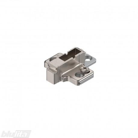 Kryžminė CLIP lanksto plokštelė, 9mm, tvirtinama medvaržčiais, reguliuojama ekscentriku, dviejų dalių, nikelio spalvos