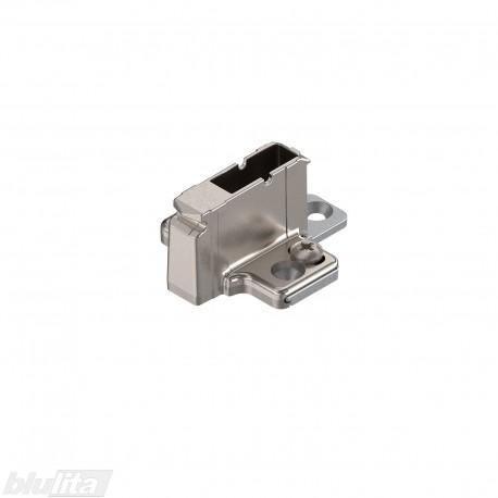 Kryžminė CLIP lanksto plokštelė, 18mm, tvirtinama medvaržčiais, reguliuojama ekscentriku, nikelio spalvos