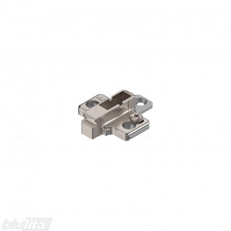 Kryžminė CLIP lanksto plokštelė, 6mm, tvirtinama medvaržčiais, reguliuojama ekscentriku, nikelio spalvos