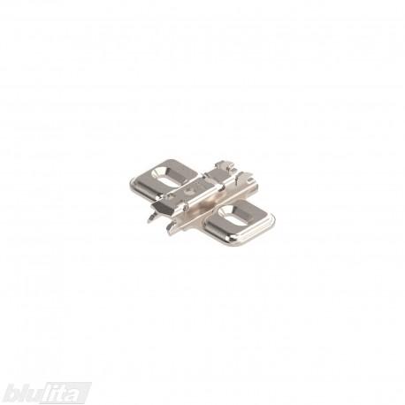Kryžminė CLIP lanksto plokštelė, 0mm, tvirtinama medvaržčiais, reguliuojama atpalaiduojant tvirt. medvaržčius, nikelio spalvos