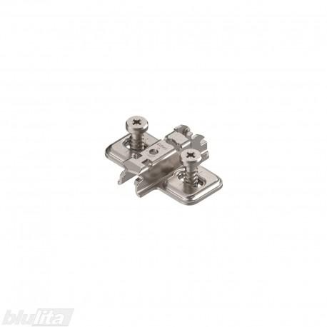 Kryžminė CLIP lanksto plokštelė, 3mm, tvirtinama ir reguliuojama eurovaržtais, nikelio spalvos