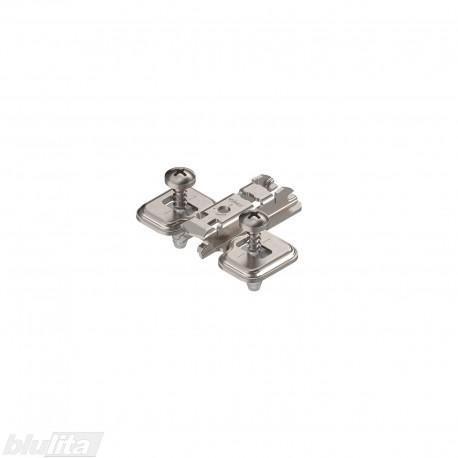 Kryžminė CLIP lanksto plokštelė, 0mm, EXPANDO (28/32 mm), reguliuojama atpalaiduojant tvirtinimo kaiščius, nikelio spalvos