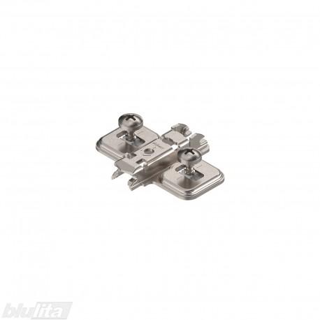 Kryžminė CLIP lanksto plokštelė, 0mm, EXPANDO, reguliuojama atpalaiduojant tvirtinimo kaiščius, nikelio sp., dvipusiam montav.