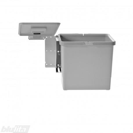 SWING šiukšliadėžės komplektas, 450mm pločio spintelėms, aukštis 290mm, 15l, šviesiai pilkas