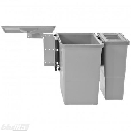 SWING šiukšliadėžių komplektas, 600mm pločio spintelėms, aukštis 350mm, 18/6l, šviesiai pilkas