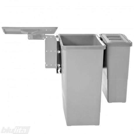 SWING šiukšliadėžių komplektas, 600mm pločio spintelėms, aukštis 450mm, 24/6l, šviesiai pilkas