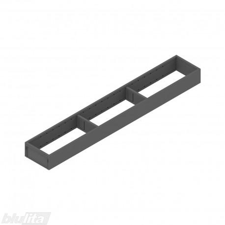 AMBIA-LINE plieninis rėmelis, plotis100mm, gylis650mm, aukštis51,05mm, tamsiai pilkas
