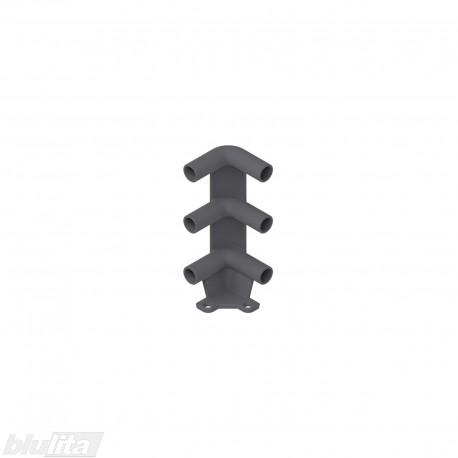 Trigubas kampinis laikiklis stalčiui iš vamzdinių bortelių, tamsiai pilkas
