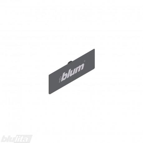 TANDEMBOX plus stalčių šonų dangtelis su Blum logotipu, tamsiai pilkos spalvos, simetriškas