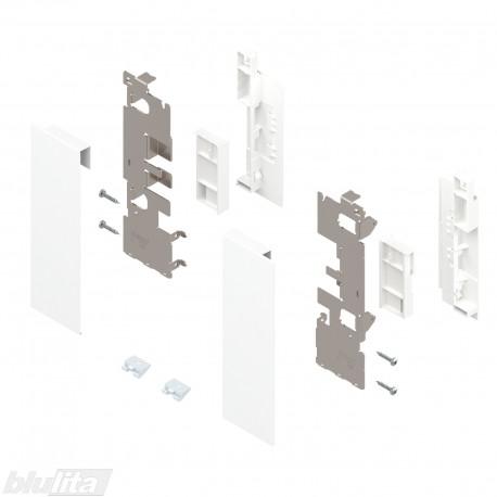 """LEGRABOX vidinio stalčiaus fasado laikiklių komplektas, su įlaida, Caukštis, baltos """"Silk"""" spalvos"""