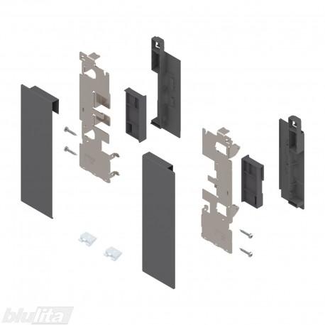 """LEGRABOX vidinio stalčiaus fasado laikiklių komplektas, su įlaida, Caukštis, tamsiai pilkos """"Orion"""" spalvos"""