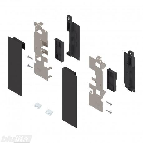 """LEGRABOX vidinio stalčiaus fasado laikiklių komplektas, su įlaida, Caukštis, juodos """"Terra"""" spalvos"""