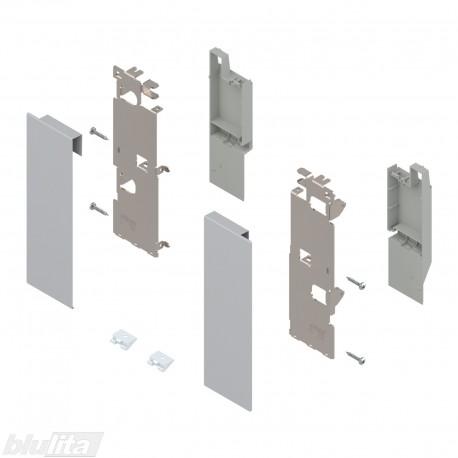 """LEGRABOX vidinio stalčiaus fasado laikiklių komplektas, be įlaidos, Caukštis, sidabrinės """"Polar"""" spalvos"""