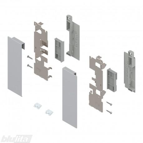 """LEGRABOX vidinio stalčiaus fasado laikiklių komplektas, su įlaida, Caukštis, sidabrinės """"Polar"""" spalvos"""