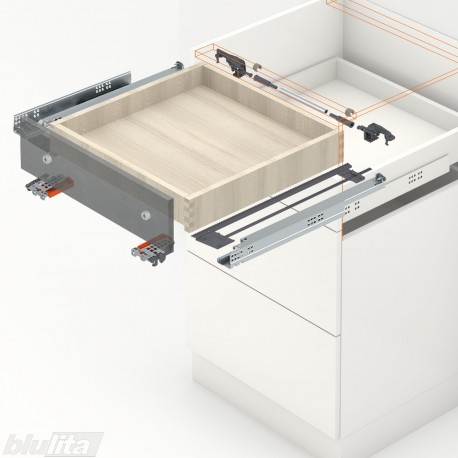 TANDEM plus BLUMATIC komplektas tvirtinamas laikikliais, išoriniam stalčiui, NL270mm, 30kg, pilno ištraukimo