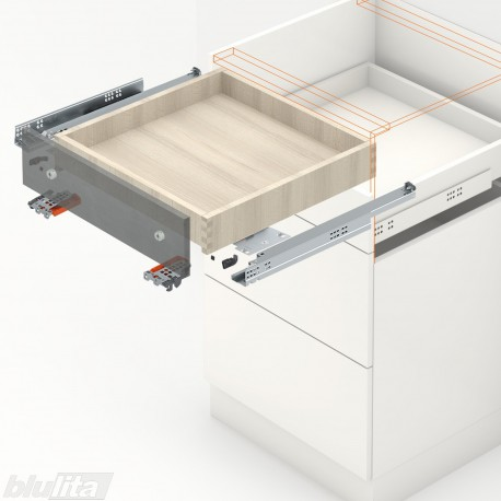 TANDEM plus TIP-ON komplektas tvirtinamas laikikliais, išoriniam stalčiui, NL300mm, 30kg, pilno ištraukimo