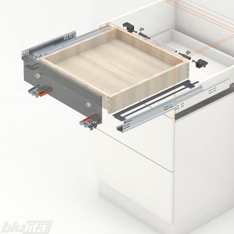 TANDEM BLUMATIC komplektas tvirtinamas laikikliais, išoriniam stalčiui, NL270mm, 30kg, dalinio ištraukimo