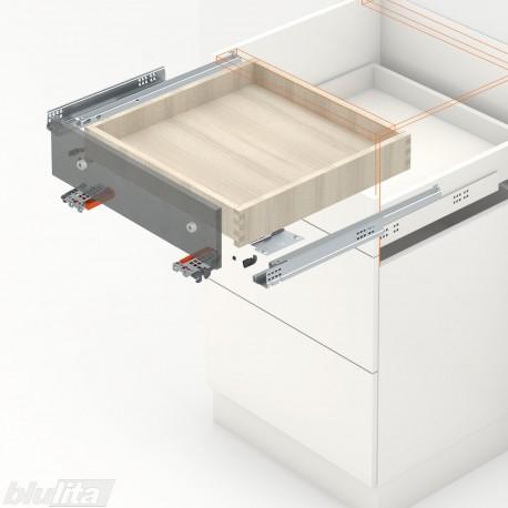 TANDEM TIP-ON komplektas tvirtinamas laikikliais, išoriniam stalčiui, NL270mm, 30kg, dalinio ištraukimo
