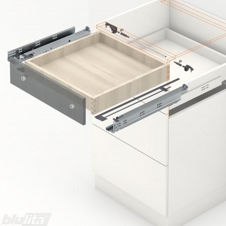 TANDEM plus BLUMOTION komplektas tvirt. bėgelyje integr. fiksatoriumi, išoriniam stalčiui, NL260mm, 30kg, pilno ištraukimo