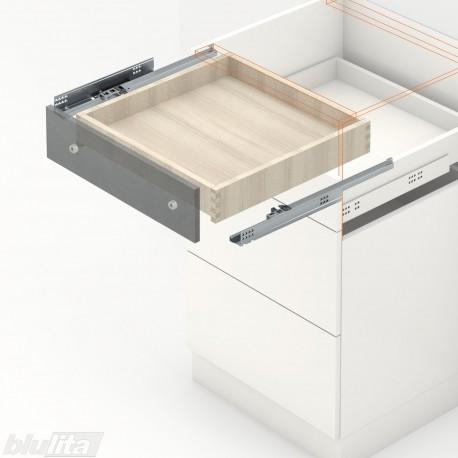 TANDEM BLUMOTION komplektas tvirt. bėgelyje integr. fiksatoriumi, išoriniam stalčiui, NL310mm, 30kg, dalinio ištraukimo