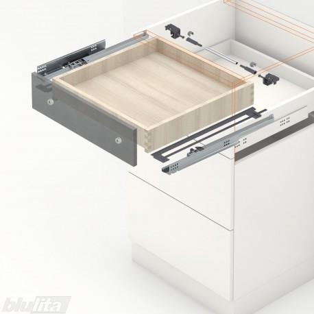 TANDEM BLUMOTION komplektas tvirt. bėgelyje integr. fiksatoriumi, išoriniam stalčiui, NL260mm, 30kg, dalinio ištraukimo