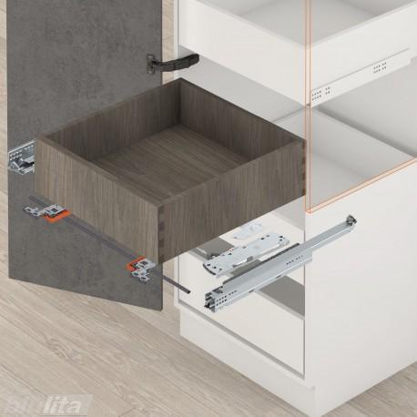 MOVENTO TIP-ONBLUMOTION komplektas vidiniam stalčiui, NL580mm, 60kg, pilno ištraukimo