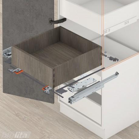 MOVENTO TIP-ONBLUMOTION komplektas vidiniam stalčiui, NL380mm, 20kg, pilno ištraukimo