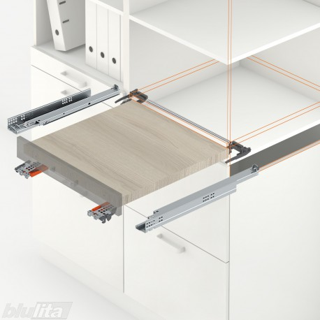 TANDEM plus BLUMOTION komplektas tvirtinamas laikikliais, ištraukiamai lentynai, NL300mm, 30kg, pilno ištraukimo