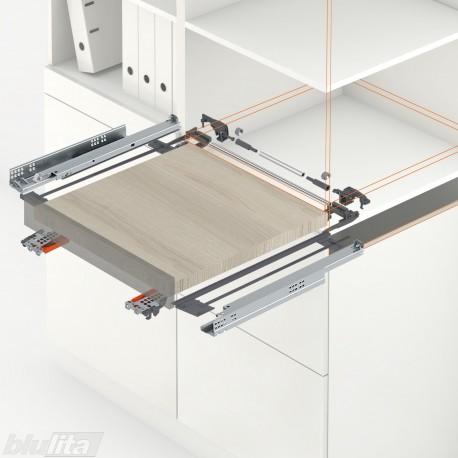 TANDEM plus BLUMATIC komplektas tvirtinamas laikikliais, ištraukiamai lentynai, NL250mm, 30kg, pilno ištraukimo