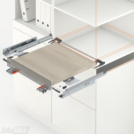 TANDEM plus TIP-ON komplektas tvirtinamas laikikliais, ištraukiamai lentynai, NL270mm, 30kg, pilno ištraukimo
