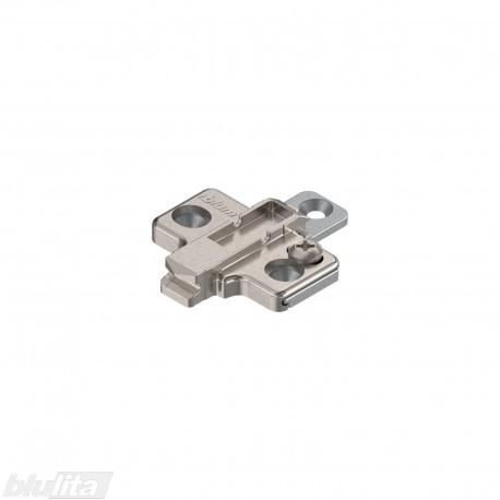 Kryžminė CLIP lanksto plokštelė, 0mm, tvirtinama medvaržčiais, reguliuojama ekscentriku, dviejų dalių, nikelio spalvos