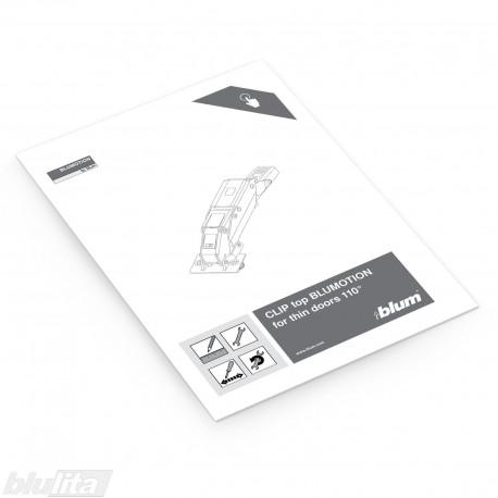 Instrukcijos – CLIP top BLUMOTION 155° lankstas plonoms durelėms, bendrinė kalba