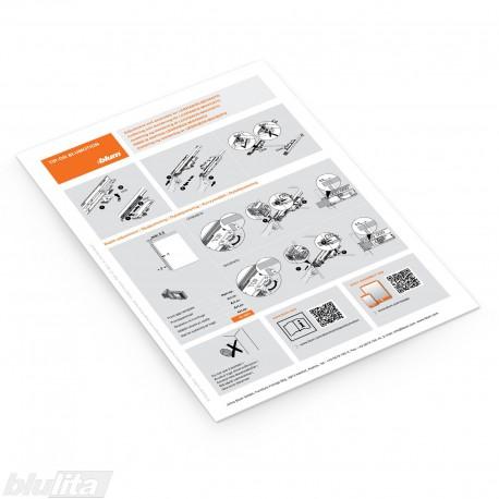 Lankstinukas – TIP-ON BLUMOTION skirtas LEGRABOX/MOVENTO reguliavimas ir montavimas, bendrinė kalba