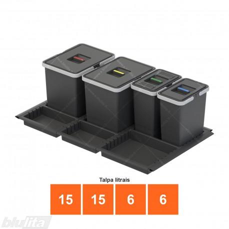 Šiukšliadėžių METROPOLIS komplektas, gylis– 500mm, plotis– 900mm, aukštis– 280mm, talpa– 15, 15, 6, 6l