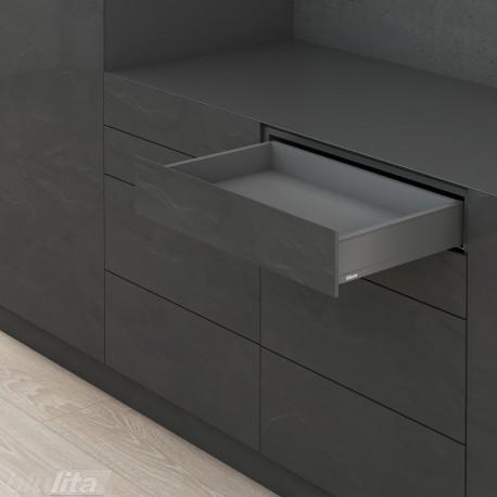 LEGRABOX M stalčiaus komplektas ploniems fasadams, tamsiai pilkas