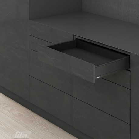 LEGRABOX M stalčiaus komplektas ploniems fasadams, juodas
