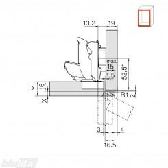 CLIP top lanksto 155 laipsn. komplektas, pusinis, INSERTA